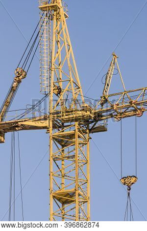 Construction, Site, Crane, Blue, Sky, Background, Big, Machinery, Tool, Building, Industry, Heavy, L