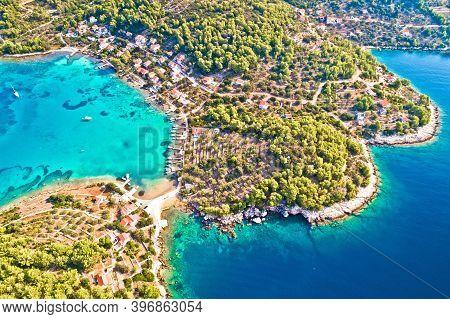 Korcula Island. Aerial View Of Gradina Bay Sailing Cove On Island Korcula, Archipelago Of Dalmatia,