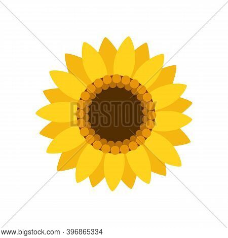 Sunflower Isolated On White Background. Sunflower In Flat Style. Nature Concept. Vector Stock