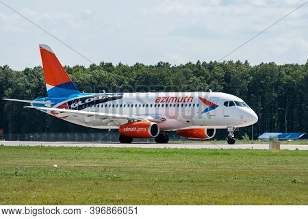 July 2, 2019, Moscow, Russia. Airplane Sukhoi Superjet 100 Azimuth Airlines At Vnukovo Airport In Mo