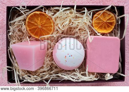 Spa Gift Basket With Set Of Organic Skin Care Products. Pink Candle, Bath Bomb And Handmade Rose Soa