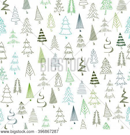Hand-painted Christmas Trees Seamless Texture. Abstract Colourful Fir-tree. Christmas Trees.