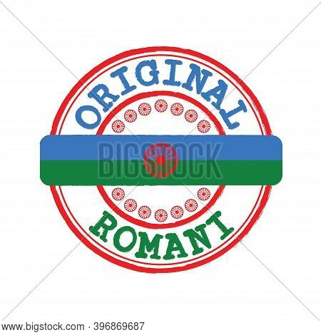 Vector Stamp Of Original Logo With Text Romani And Tying In The Middle With Romani People Flag. Grun