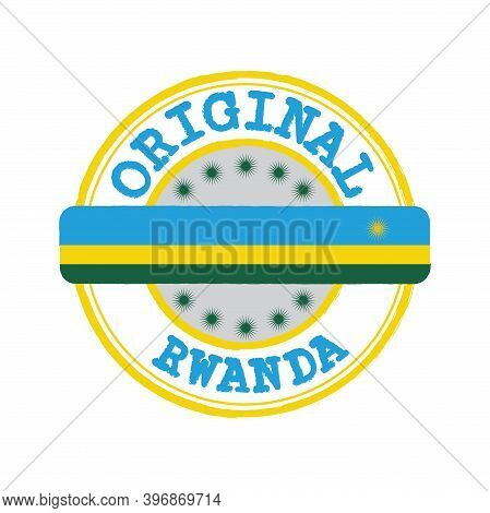 Vector Stamp For Original Logo With Text Rwanda And Tying In The Middle With Nation Flag. Grunge Rub