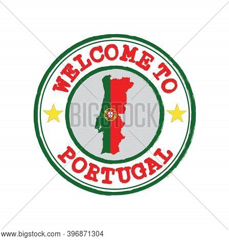 Vector Stamp Of Welcome To Portugal With Map Outline Of The Portuguese In Center. Grunge Rubber Text