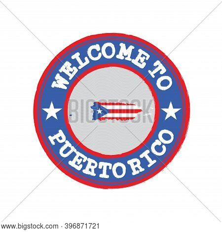 Vector Stamp For Original Logo With Text Puerto Rico And Tying In The Middle With Nation Flag. Grung