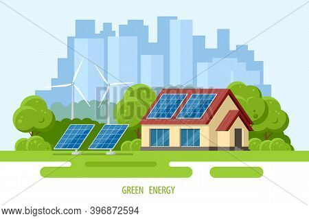 Solar Panels On The Roof Of The Modern House. Renewable Energy Sources. Backup Power Energy Storage