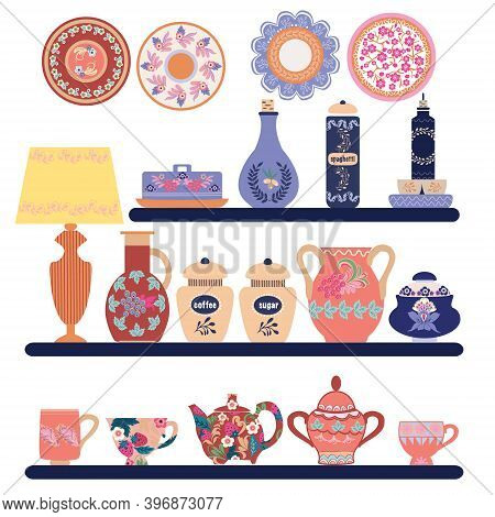 Collection Of Beautifully Ceramic And Porcelain Household Utensils And Tools. Kitchen Tableware On S