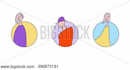 Outline Couturier Design Women Icon Of 3 Types. Isolated Vector Sign Symbol.