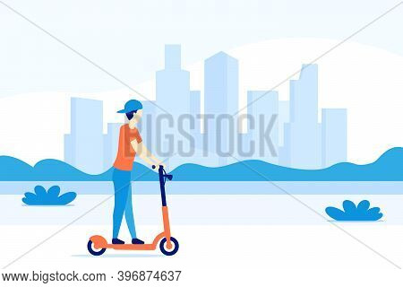 Boy Riding Electric Kick Scooter In The City, Vector, Eps 10 File, Easy To Edit