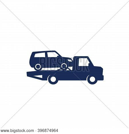 Car Towing Truck Vector Icon On White, Eps 10 File, Easy To Edit