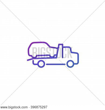 Tow Truck With Car Vector Line Icon, Eps 10 File, Easy To Edit