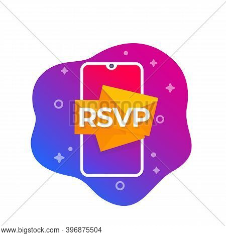 Rsvp Icon With Smart Phone, Vector, Eps 10 File, Easy To Edit