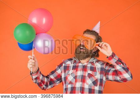 Party Time. Man With Balloons. Celebration. Party Man With Present. Holidays Party. Holidays And Cel
