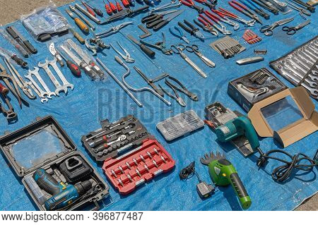 Novi Sad, Serbia - June 3, 2018: Second Hand Tools For Sale At Flea Market In Novi Sad, Serbia.
