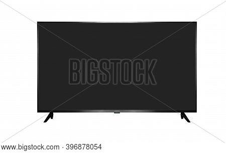 Tv 4k Flat Screen Lcd Or Oled, Plasma. Black Blank Hd Monitor Isoalted On White.