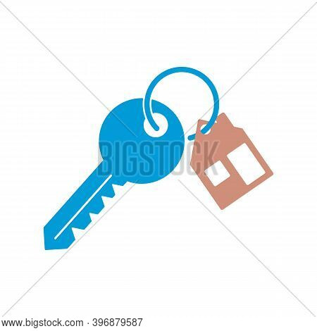 House Key Chain With Two Key. Blue Key With Trinket Icon.
