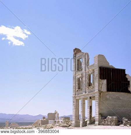 Ruins Of The Cook Bank Building In The Nevada Ghost Town Rhyolite Sitting On The Edge Of Death Valle