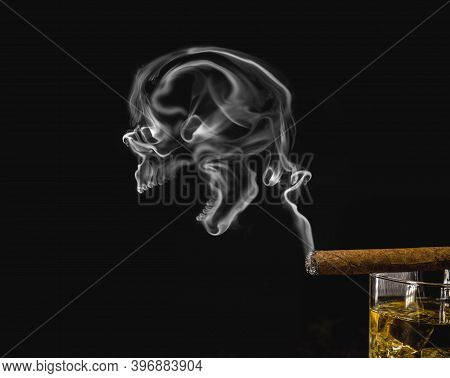 Cigarette Smoke With Skull Emerging, Concept Of Illness Due To Smoking Or Addiction, Do Not Smoke.