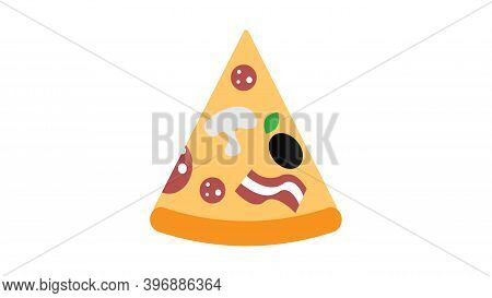 Slice Of Pizza On A White Background, Vector Illustration. A Triangular Slice Of Pizza Stuffed With