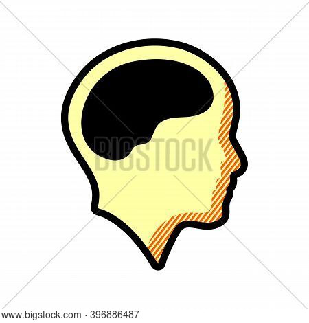Brain And Human Head Icon Simple Vector Sign And Modern Symbol. Brain And Human Head Vector Icon Ill