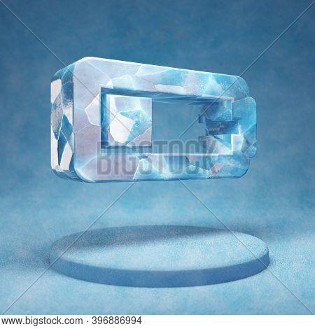 Quarter Battery Icon. Cracked Blue Ice Quarter Battery Symbol On Blue Snow Podium. Social Media Icon