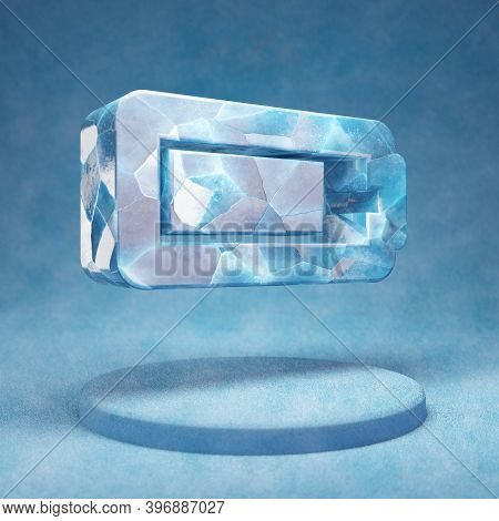 Tree Quarters Battery Icon. Cracked Blue Ice Tree Quarters Battery Symbol On Blue Snow Podium. Socia