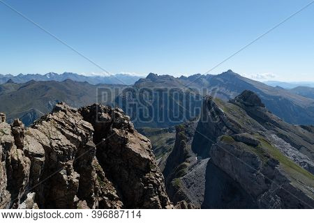 Views Of The Peaks And Mountains Of The Pyrenees From The Top Of Aspe Overlooking The Collarada Peak