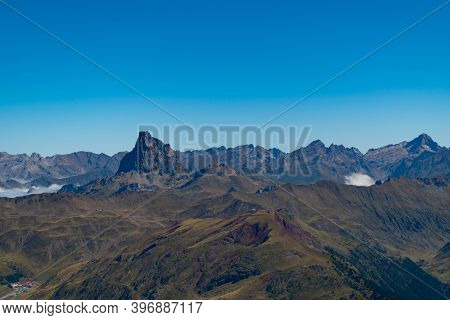 Views From The Top Of Aspe In The Pyrenees With Mountains And Peaks On The Spanish Side And A Sea Of