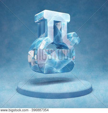 Bong Icon. Cracked Blue Ice Bong Symbol On Blue Snow Podium. Social Media Icon For Website, Presenta