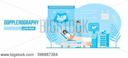 Dopplerography Concept Vector For Landing Page. Doctor Are Doing Ultrasound Fetus Screening Checkup