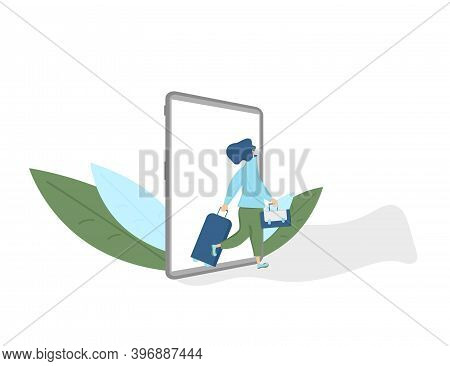 Online Flight Ticket Booking. Female Traveler Going To Her Flight With Luggage. Vector Flat Person W