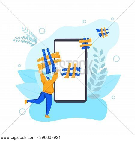 Smm Concept. Hashtag. Young Woman Running With Huge Hash Tag Near A Big Phone Screen. Social Media D