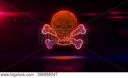 Skull Symbol, Digital Piracy, Hacking Computer, Cyber Crime Technology, Darknet And Hacker Icon Conc