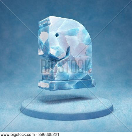 Chess Knight Icon. Cracked Blue Ice Chess Knight Symbol On Blue Snow Podium. Social Media Icon For W