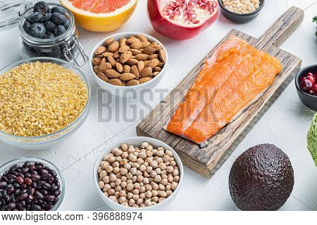 Organic Food For Healthy Nutrition And Superfoods, On White Background
