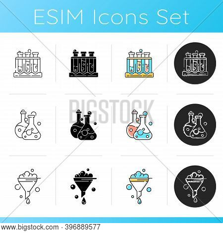 Lab Equipment Icons Set. Test Tube Rack. Chemistry Glassware For Containing Liquid. Filtration Proce