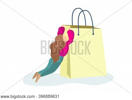 Adult Girl Hanging On Big Paper Bag In Supermarket. Female Consumerism Addiction Concept. Woman Has