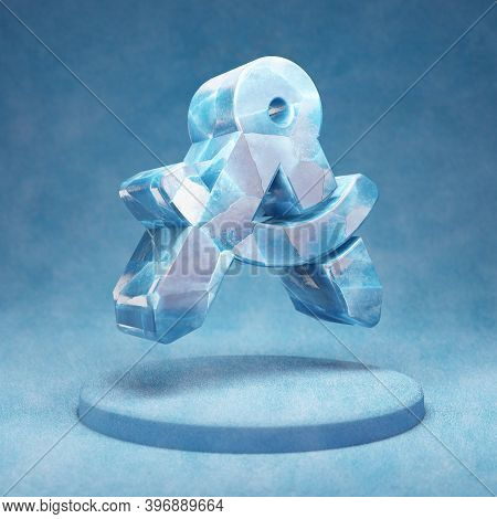 Drafting Compass Icon. Cracked Blue Ice Drafting Compass Symbol On Blue Snow Podium. Social Media Ic