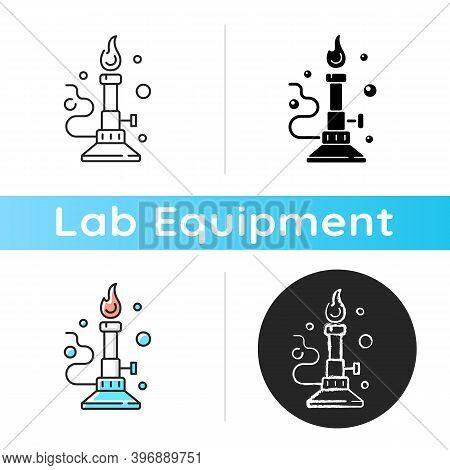 Bunsen Burner Icon. Laboratory Instrument. Heating, Sterilization And Combustion Materials. Single O