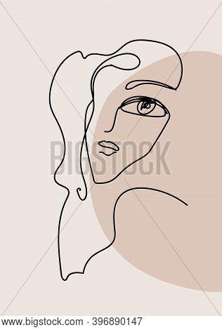 Minimalist One Line Female Portrait, Interior Art Poster, Vector Illustration. Vector Illustration