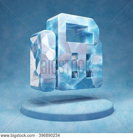 Fax Icon. Cracked Blue Ice Fax Symbol On Blue Snow Podium. Social Media Icon For Website, Presentati
