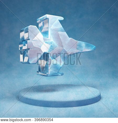 Fighter Jet Icon. Cracked Blue Ice Fighter Jet Symbol On Blue Snow Podium. Social Media Icon For Web