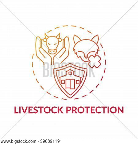 Livestock Protection Red Gradient Concept Icon. Pets Abuse. Domesticated Animal Welfare. Ranch Mamma