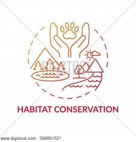Habitat Conservation Red Gradient Concept Icon. Ecosystem Preservation. Prevent Extinction. Wildlife