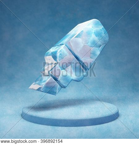 Highlighter Icon. Cracked Blue Ice Highlighter Symbol On Blue Snow Podium. Social Media Icon For Web
