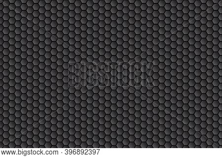 Dark Hexagon Carbon Fiber Texture. Honeycomb Metal Texture Steel Background. Metal Grid Black Steel