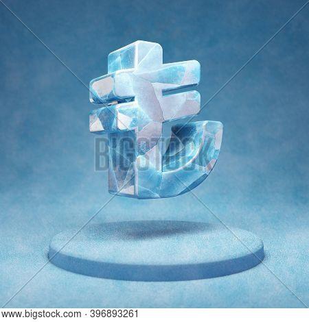 Lira Icon. Cracked Blue Ice Lira Symbol On Blue Snow Podium. Social Media Icon For Website, Presenta