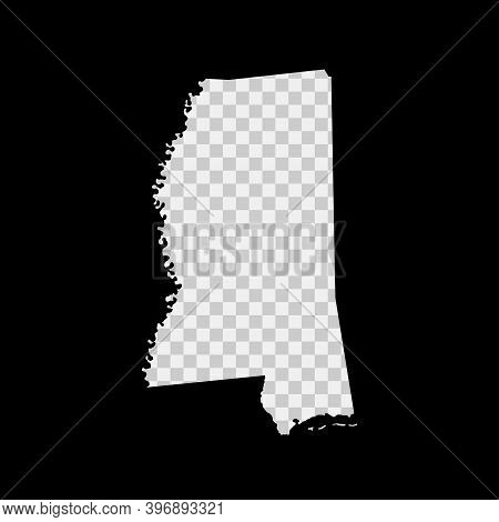 Mississippi Us State Stencil Map. Laser Cutting Template On Transparent Background. Die Cut Vector S