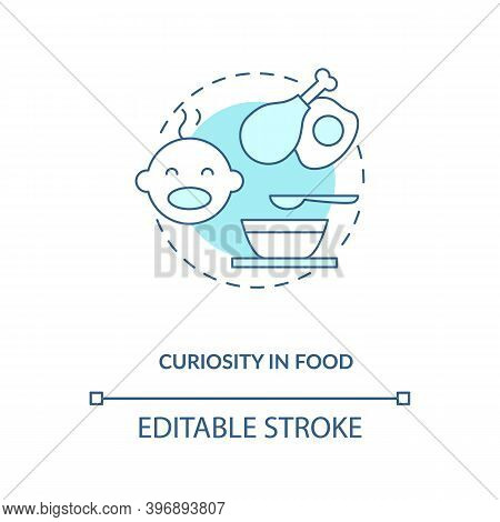 Curiosity In Food Concept Icon. Introducing Baby Food Requirements. Different Meals To Eat. Getting